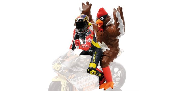 Figurine Valentino Rossi + Chicken GP 250 Barcelona 1998